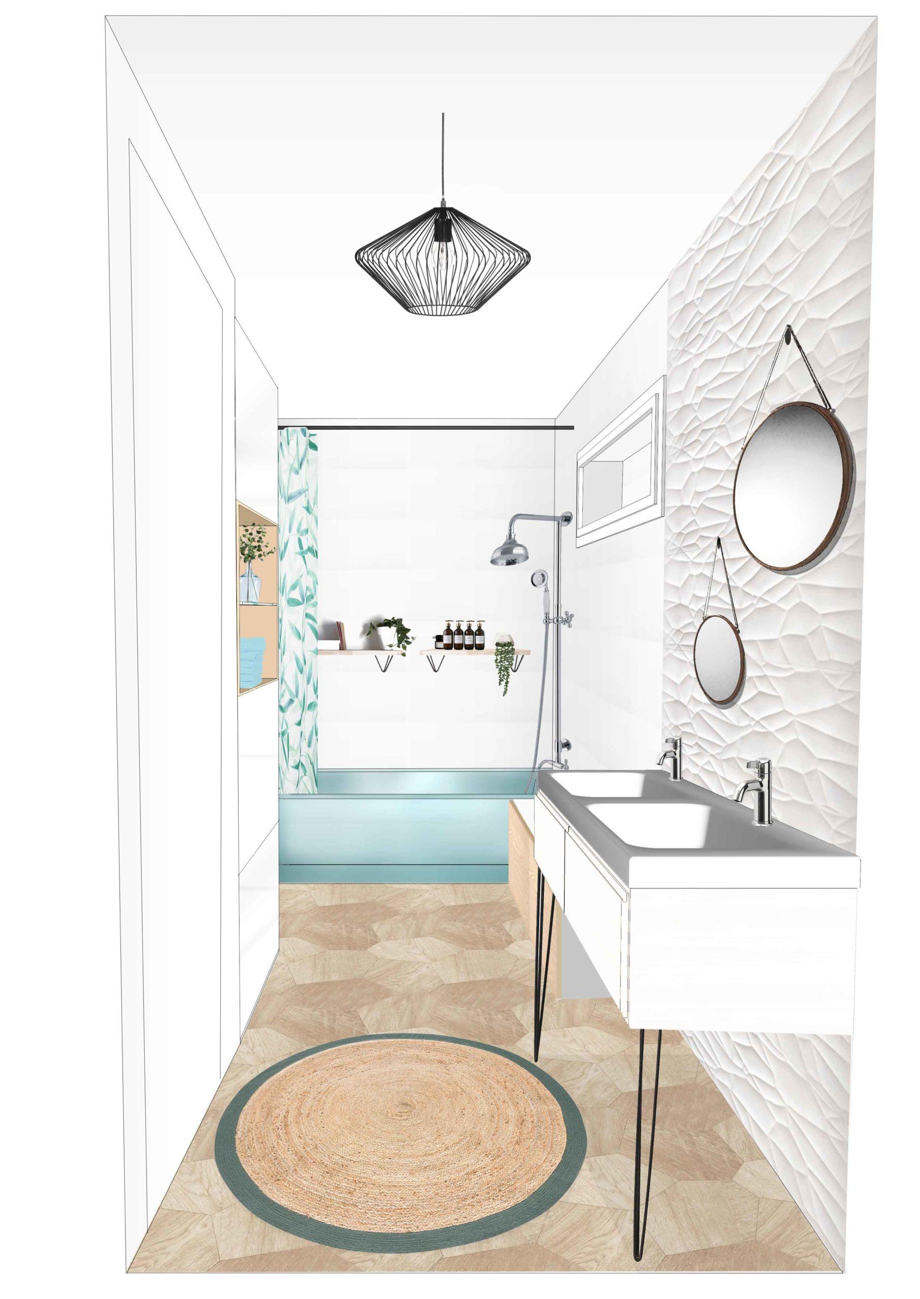 Esquisse 03 Salle de bain - relief blanc