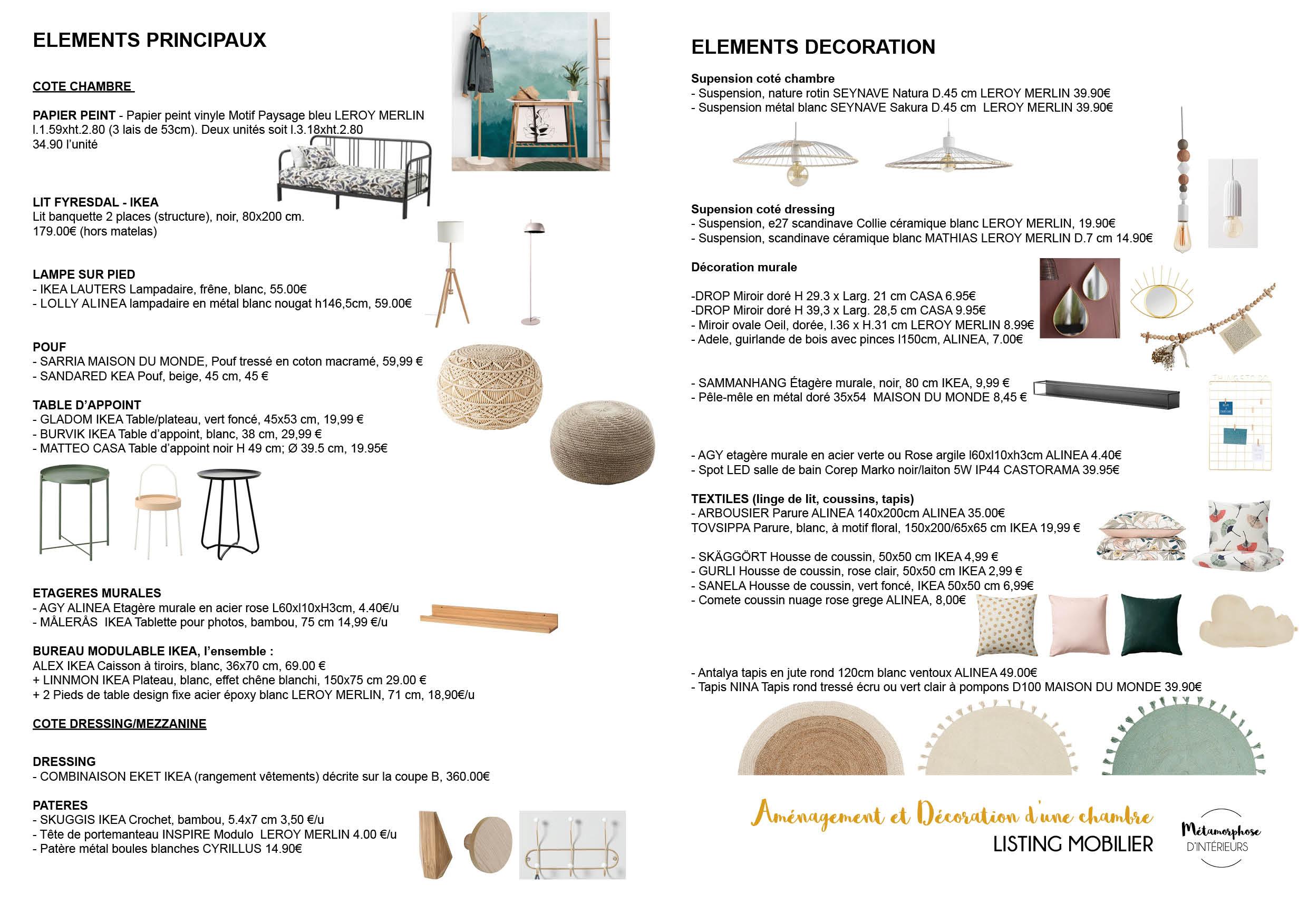 50's - CHAMBRE listing mobilier et matériaux