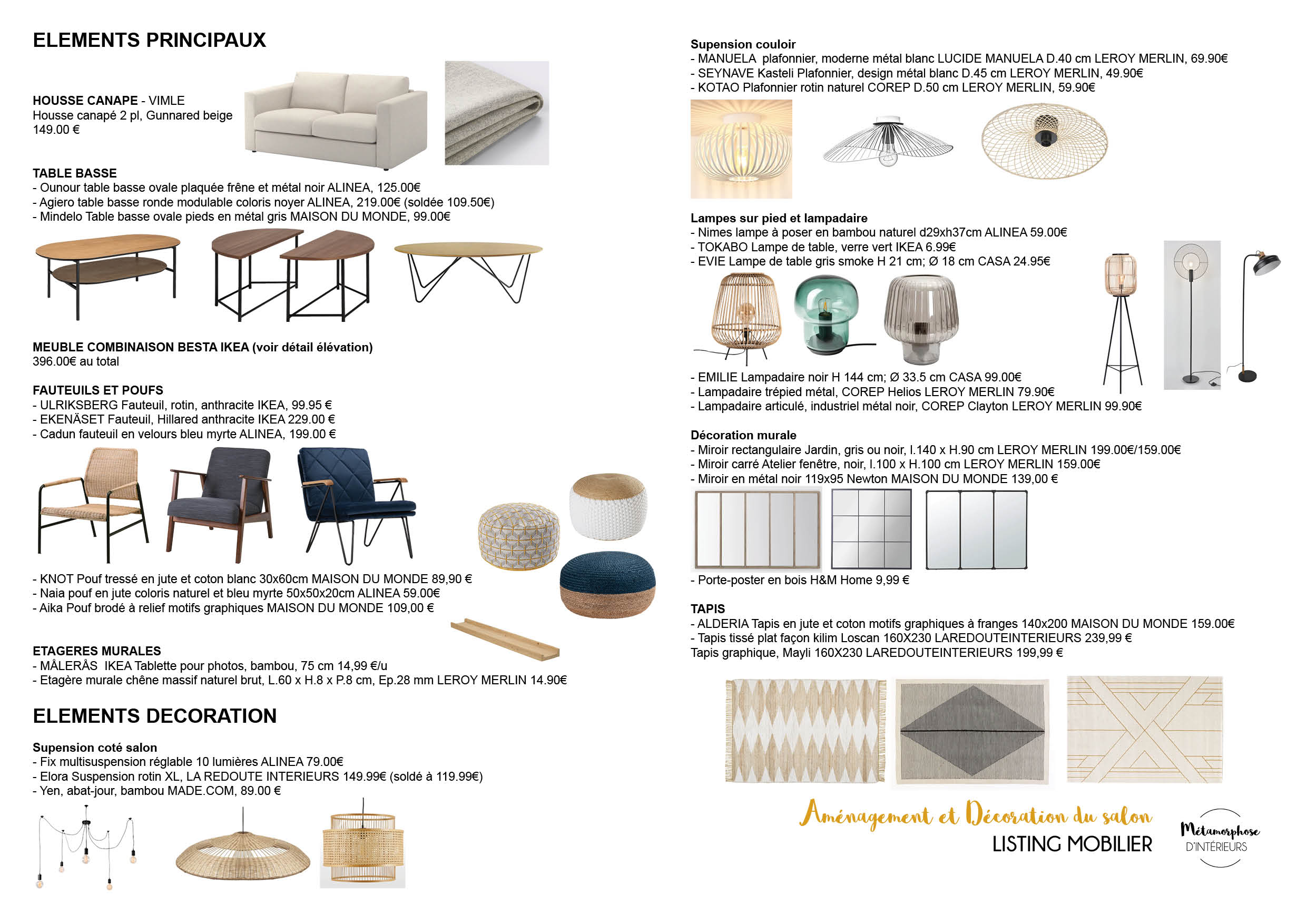 50's - SALON listing matériaux et mobilier