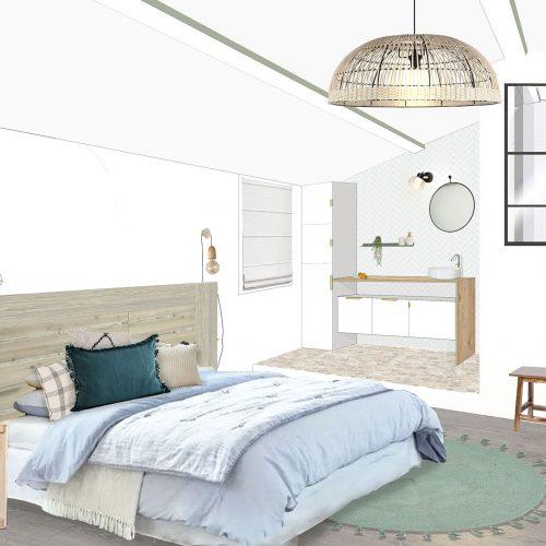 Aménagement intérieur et décoration d'une maison de village  - Bellegarde - CHAMBRE PARENTALE